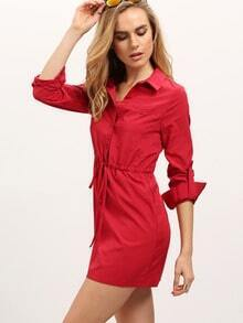 Red Long Sleeve Lapel Drawstring Dress