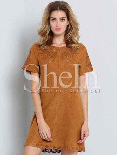 Brown Short Sleeve Zipper Dress