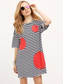 White Sailor Striped Contrast Panels Dress
