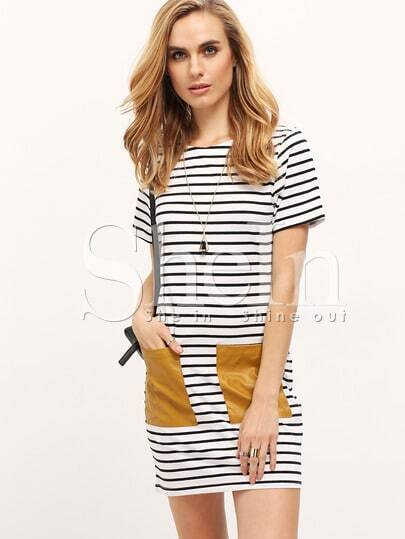 White and Black Short Sleeve PU Leather Pocket Dress