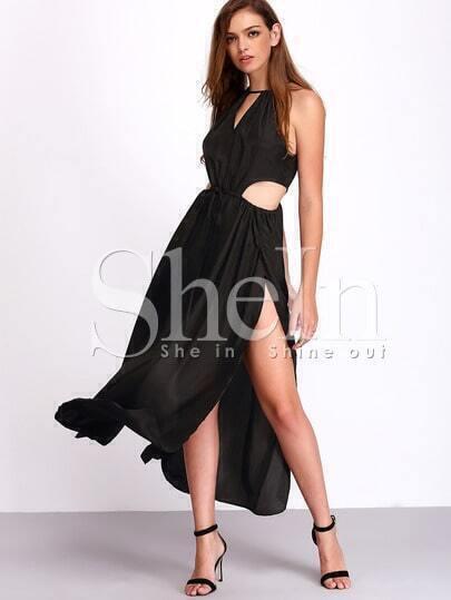 Black Sleeveless Cut Out Split Dress