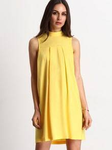 Yellow Sleeveless High Neck Pleated Dress
