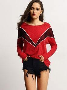 Red Crew Neck Color Block T-Shirt