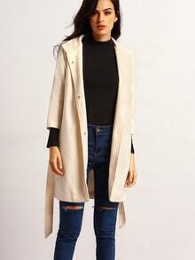 White Lapel Pockets Coat