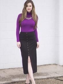 Black High Waist With Button Skirt