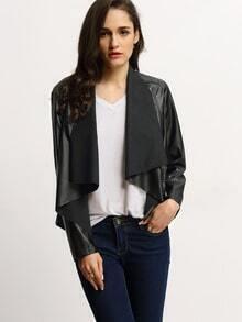 Black PU Leather Wrap Front Jacket