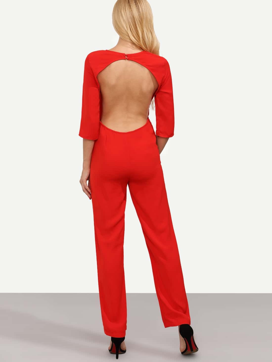 Red Long Sleeve Backless Jumpsuit