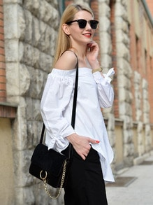 White Long Sleeve Style Off The Shoulder Blouse