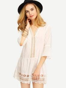 White V Neck Bell Sleeve Lace Eyelet Blouse