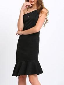 Black One Shoulder Ruffle Asymmetrical Dress