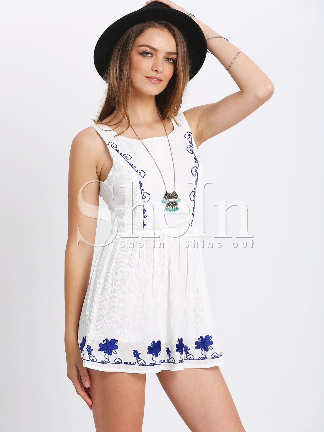 White embroidery dress with cut out back shein sheinside