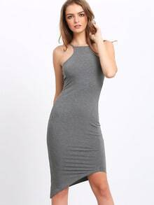 Grey Oblique Hem Spaghetti Strap Bodycon Dress