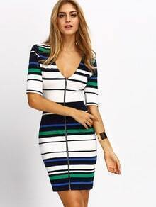 Royal Blue Half Sleeve Striped Colorblock Bodycon Dress