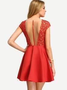 Red Patchwork Transparent Back  Pleated Dress