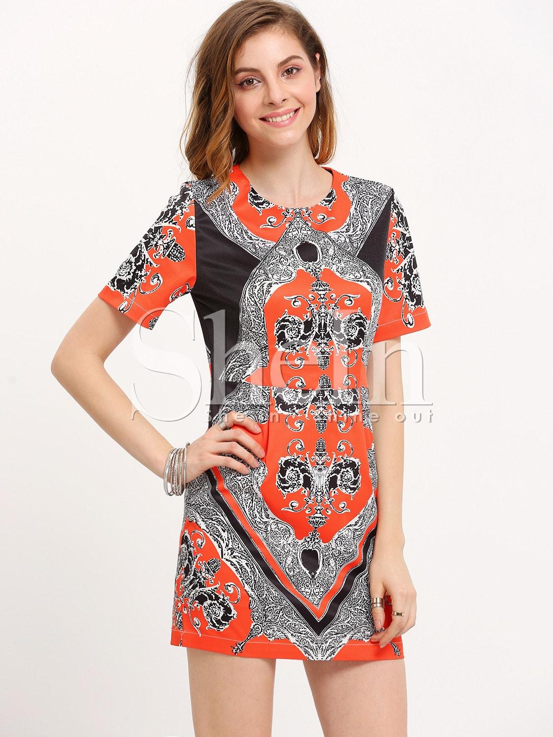 Multicolor Short Sleeve Vintage Print DressMulticolor Short Sleeve Vintage Print Dress<br><br>color: Multicolor<br>size: XS