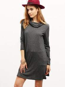 grey crew neck tshirt dress sheinsheinside