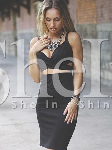 Surplice Plunging Neckline Cut Out Dress multi stripe surplice neckline dress