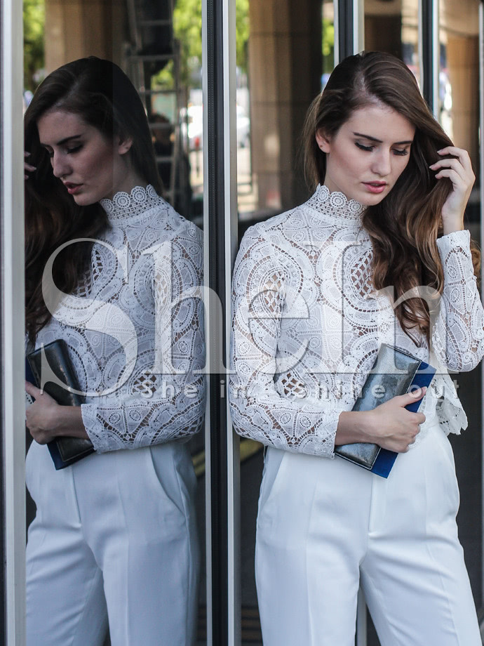 White Long Sleeve Hollow Lace Blouse blouse150505502