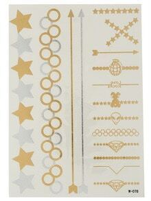 Geomectric Gold Stamping The Olympic Rings And Star Tattoos