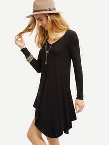 Black Scoop Neck Asymmetric Dress pictures
