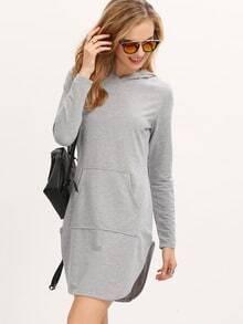 Grey Hooded Long Sleeve Slim Bodycon Dress