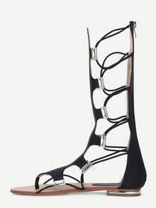 Black Knee-high Suede Lace Up Sandals