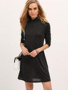 Black Mock Neck Tshirt Dress