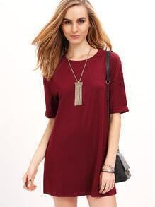 Wine Red Half Sleeve Round Neck Casual Dress