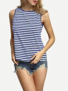 Blue Crew Neck V-cut Back Striped Tank Top