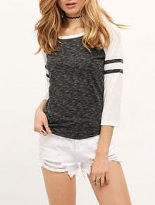 Grey Long Sleeve Contrast Striped Casual T-shirt