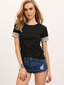 Black Contrast Cuff T-Shirt