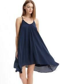 Deep Blue Spaghetti Strap Tie Back Shift Dress