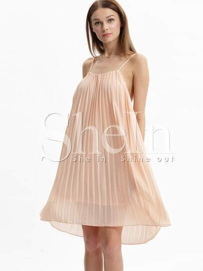 Apricot Coctel Spaghetti Strap Pleated Slip Dress