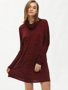 Burgundy Long Sleeve Turtleneck Casual Dress