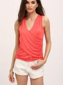 Deep V Wrapped Front Tank Top