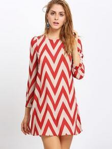 Red Zag Print Crew Neck Shift Dress