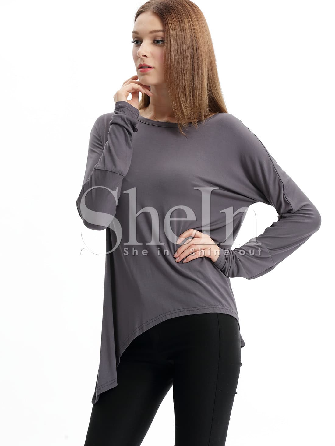Grey Long Sleeve Round Neck T-Shirt tee151026503