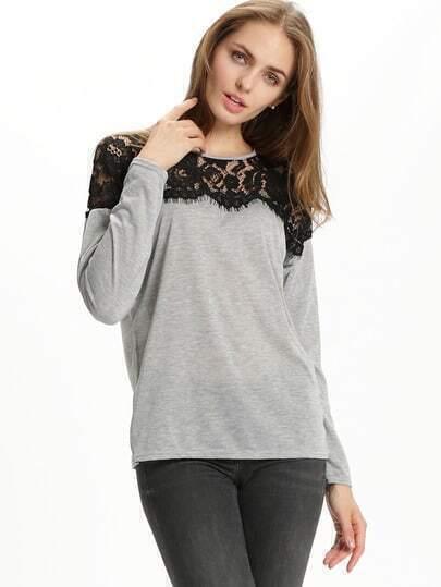 Long Sleeve Lace Insert T-shirt