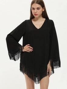 Black Long Sleeve V Neck Fringe Dress