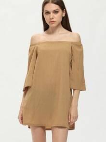 Brown Off The Shoulder Bell Sleeve Dress
