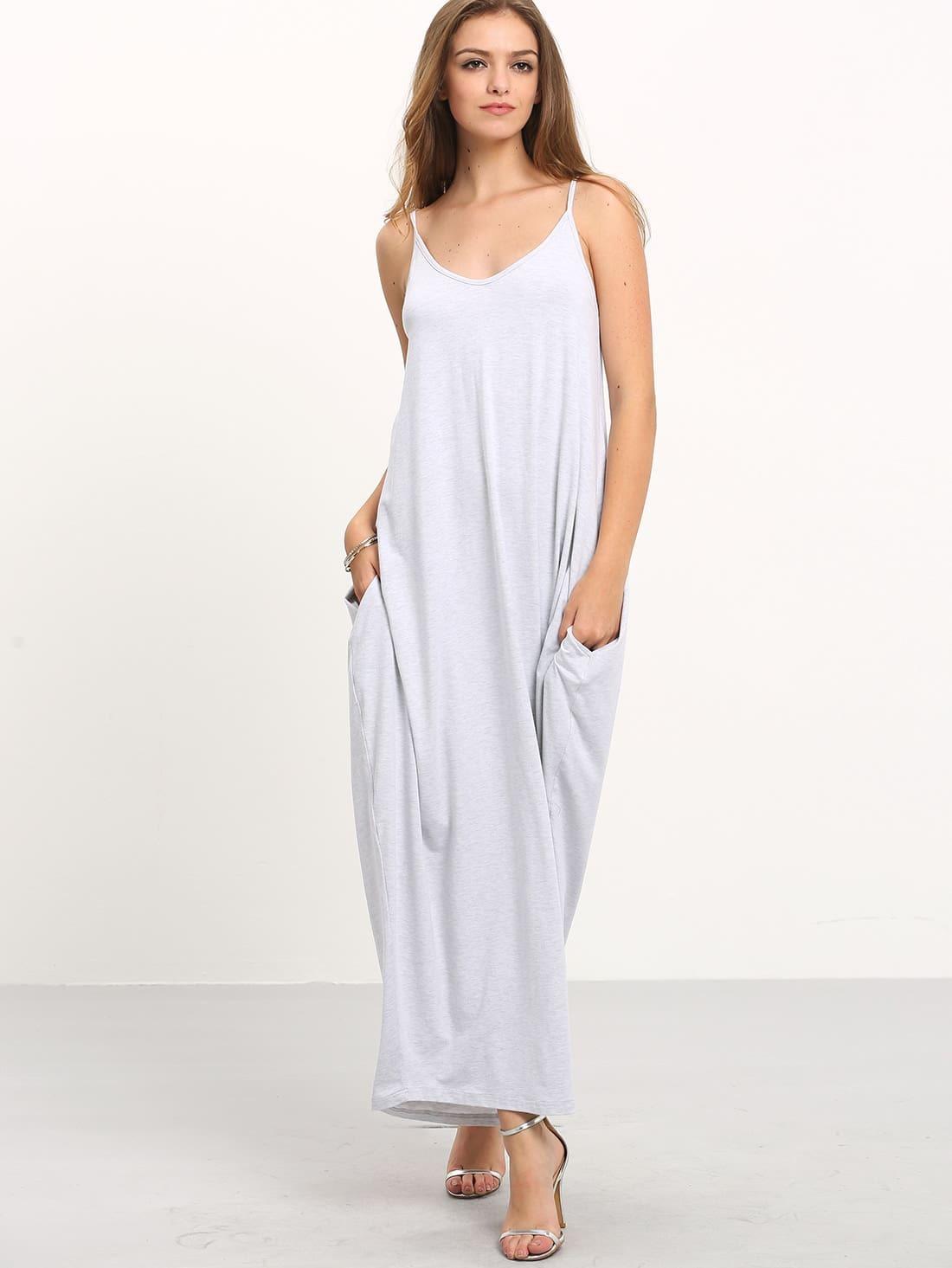 Grey Spaghetti Strap Pockets V Back Maxi Dress Shein