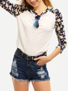 Round Neck Flower Print T-shirt