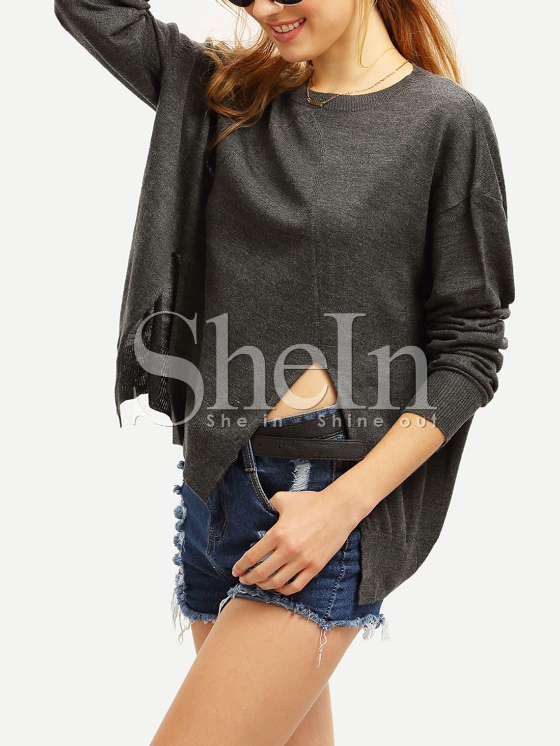 Grey Side Slit Loose Sweater sweater15151231506