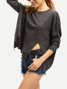 Grey Side Slit Loose Sweater