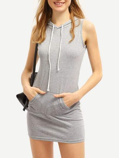 Grey Drawstring Hooded Pockets Bodycon Dress