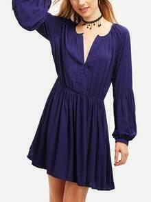 Blue Long Sleeve Pleated Dress
