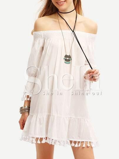 Beige Off The Shoulder Fringe Shift Dress