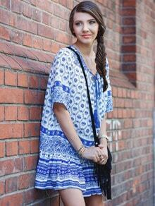 Blue Half Sleeve Tribal Print Babydoll Dress