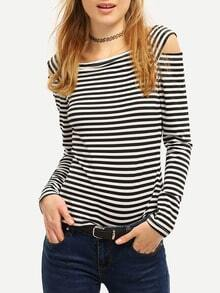 Black White Striped Off The Shoulder Cut Out T-Shirt