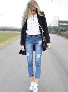 White Lace Up Front Sweatshirt